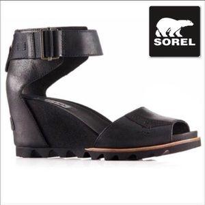 SOREL Women's 'Joanie' Black Wedge Sandals